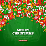 Christmas card with flat holiday icons in circles Royalty Free Stock Photo