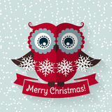 Christmas card with flat owl and ribbon. Vector illustration. Stock Photos