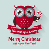 Christmas card with flat owl and ribbon. Vector illustration. Royalty Free Stock Images