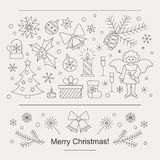 Christmas card or flyer. Christmas celebration concept - lots of new year and christmas symbols isolated on background with place or your text. Christmas flyer Stock Image