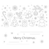 Christmas card or flyer. Christmas celebration concept - lots of new year and christmas symbols isolated on background with place or your text. Christmas flyer Stock Photography