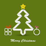 Christmas card with folded paper Christmas tree Stock Image