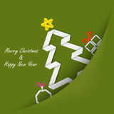 Christmas card with folded paper tree in your pocket Stock Images