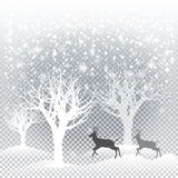 Christmas card. Christmas forest card. Falling snowflakes, snowfall, snow mountains, reindeer, forest, trees on transparent background. For Happy New Year and Stock Image