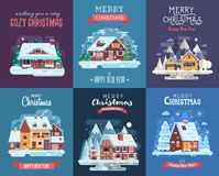 Christmas Card with Forest Winter House by Night. Christmas cards set with forest winter houses and homes on countryside background. Xmas congratulation Stock Photo
