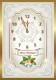 Christmas card in the form of the original clock Royalty Free Stock Photo