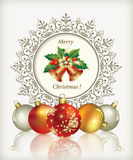 Christmas card in 2014 in the form of snowflakes. Christmas card with festive bells and balls on snowflakes background Stock Photos