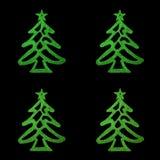 Christmas card- four green christmas tree on black background. Christmas card- four green christmas tree on black Royalty Free Stock Photography