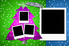 Christmas card with four photo frames. Christmas card with four empty photo frames, christmas tree Royalty Free Stock Photos