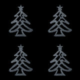 Christmas card- four silver christmas tree on black background Royalty Free Stock Image