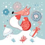 Christmas card with fox Stock Photos