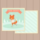 Christmas Card with Fox Royalty Free Stock Images