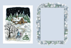 Christmas card and frame royalty free stock photo