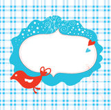 Christmas card with frame. And bird stock illustration