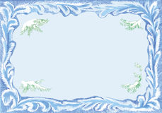 Christmas card frame. A pattern for Christmas postcard . Frostwork frame and branches of fir tree covered with snow Royalty Free Stock Photos
