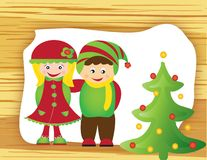 Christmas card frame gift figures tree Royalty Free Stock Photography