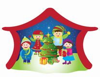 Christmas card frame gift figures tree Stock Photography