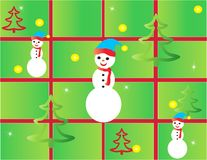 Christmas card frame gift figures tree Stock Photos