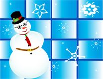 Christmas card frame gift snowman snow Stock Photos