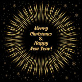 Christmas card. Frame with golden  firecracker and merry christmas text. vector illustration Stock Photo