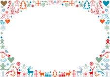 Christmas card framed with christmas icons Stock Photo