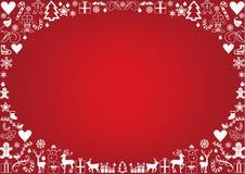 Christmas card framed with christmas icons Stock Photography