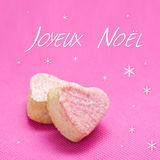 Christmas card with french heart bakery Stock Images