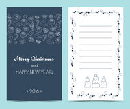 Christmas card on the front and inside. Seamless line icons border. Flat design. Vector Stock Photo