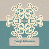 Christmas card. With a fun snowflake Royalty Free Stock Image