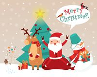 Christmas card with funny cartoon characters. A snowman with a bucket, Santa on a sack with gifts, a deer in a scarf and mittens,. A bear launching fireworks Royalty Free Illustration