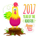 Christmas card with funny cartoon rooster. On a black background. Cock symbol 2017 with New Year's inscriptions Stock Photography