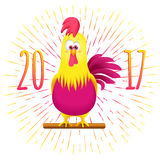 Christmas card with funny cartoon rooster. Christmas card with funny cartoon rooster on a white background. Cock symbol 2017 New Year Royalty Free Stock Photos