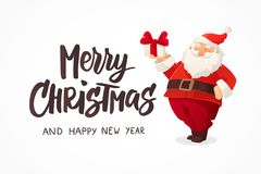 Christmas card. Funny cartoon Santa Claus holding present with bow in his hand. Merry Christmas text, hand drawn. Lettering. Red Santa hat. For Christmas and Royalty Free Stock Image