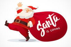 Christmas card. Funny cartoon Santa Claus with huge red bag with presents. Hand drawn text - Santa is coming Stock Photography