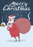 Christmas card with funny confused Santa Claus with big bag in the snowy night in front of festive houses. Santa looks. Christmas card of funny confused Santa Royalty Free Stock Photos