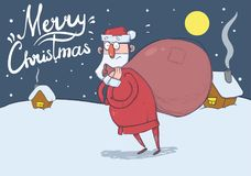 Christmas card of funny confused Santa Claus with big bag in the snowy night in front of festive houses under the Moon Royalty Free Stock Photos