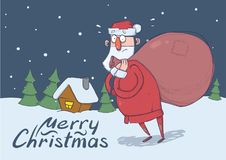 Christmas card of funny confused Santa Claus with big bag in the snowy night in front of spruce trees and festive house. Christmas card of funny confused Santa Royalty Free Stock Photos