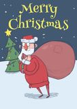 Christmas card with funny confused Santa Claus with big bag in the snowy night  Stock Image