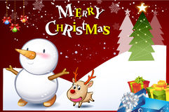 Christmas card-06. Funny christmas card with cute cartoon Snowman and reindeer Royalty Free Stock Photography