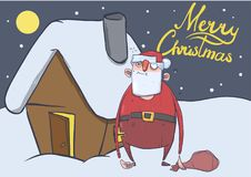 Christmas card of funny drunk Santa Claus with a bag standing. Next to the house in the snowy night. Santa got wasted. Horizontal vector illustration. Cartoon Royalty Free Stock Photo