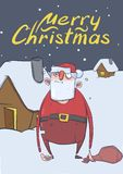 Christmas card of funny drunk Santa Claus with a bag standing next to the house in the snowy night. Santa got wasted. Vertical vector illustration. Cartoon Royalty Free Stock Photos