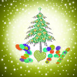 Christmas card 2014, funny love tree. With hearts in starry background Stock Photos