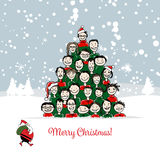 Christmas card, funny people tree for your design Royalty Free Stock Photo