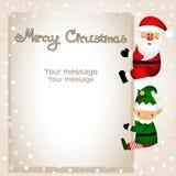 Funny postcard with Christmas Elf and Santa. Stock Image
