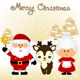 Christmas card. Funny postcard with Mrs. Santa Claus, Santa Claus and Christmas reindeer. stock illustration