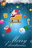 Christmas card-02. Funny christmas card with santa claus stock illustration