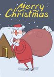 Christmas card of funny Santa Claus with big bag walking by the house in the snowy night. Santa looks lost and confused. Christmas card of funny Santa Claus with Stock Photos