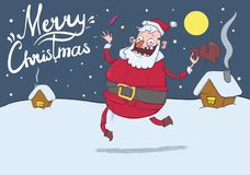 Christmas card with funny Santa Claus. Santa brings gifts and throws candies Royalty Free Stock Images