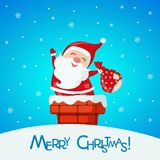 Christmas card with funny Santa Claus in chimney. Royalty Free Stock Images