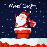 Christmas card with funny Santa Claus in chimney. Royalty Free Stock Photos